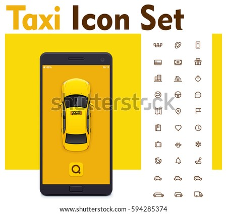 Vector taxi mobile app icon set. Includes taxi service related icons and smartphone with yellow taxicab on the screen