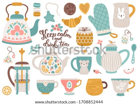 Vector tea collection of vintage tableware. Cozy set with tea and coffee cups, mugs, kettle and teapot. Kitchen elements. Isolated on white. Hand drawn food and drink. Tea party template.