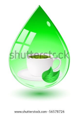 vector tea cup inside green water drop