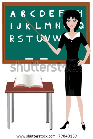 vector teacher at the blackboard