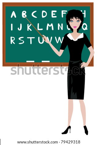 vector teacher at the blackboard with alphabet letters