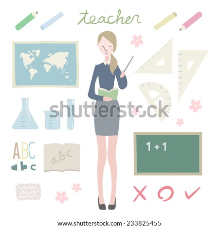 vector teacher illustration set