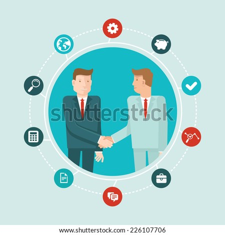 Vector teamwork and cooperation concept in flat style - male partners shaking hands - agreement and business icon