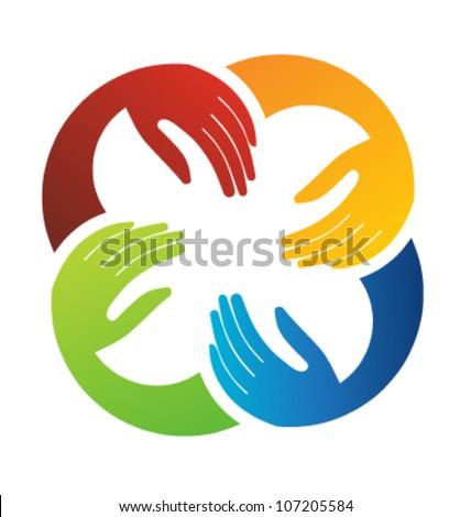 Vector Teamwork Hands Logo Template