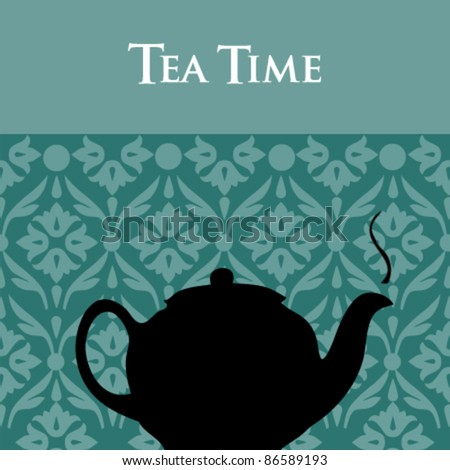 Vector Teapot Silhouette with Ornamental Background