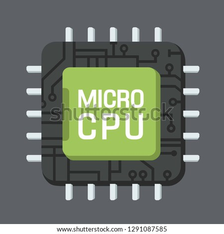 Vector tech computer chip icon. Image  computer circuit processor text: MICRO CPU. Chip illustration in flat style.
