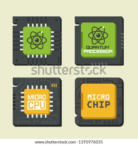Vector tech icon set of chips and CPU. Illustration of a computer chip in a flat style: quantum chip, micro chip, microprocessor, CPU.