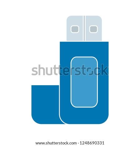 Vector tech icon usb flash drive. On the red flash drive connection sign. Illustration USB in flat style