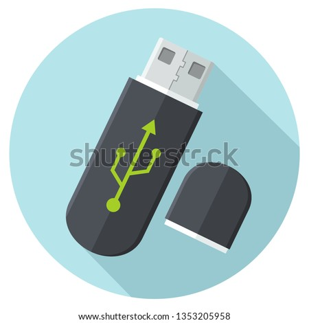 Vector tech USB flash drive icon. USB Flash memory stick with connection mark. Illustration of flash drive memory stick in flat minimalism style.