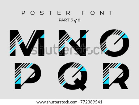vector techno font with digital