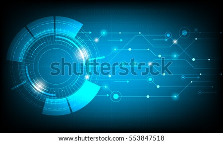 Vector technology circle on blue background.