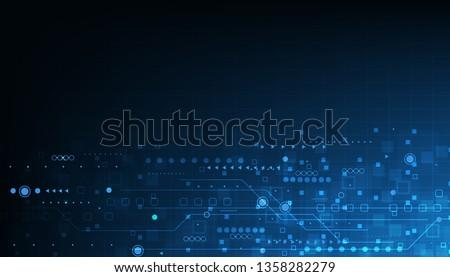 Vector technology design on blue color background .