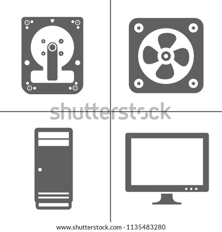 Vector technology icons set Computer, Network devices and connections