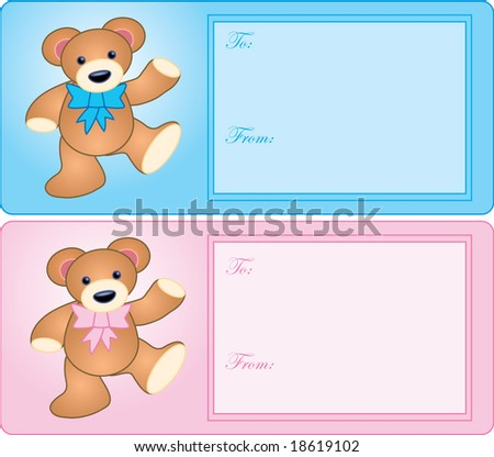 girls with teddy bears. teddy bear baby gift tags