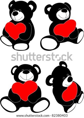 Vector teddy bear with heart