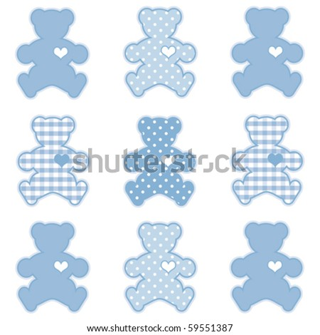 vector - Teddy Bears with big hearts in pastel blue gingham and polka dots for baby books, scrapbooks and albums. EPS8 compatible.