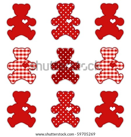vector - Teddy Bears with big hearts in Valentine's Day red gingham and polka dots for baby books, scrapbooks and albums. EPS8 compatible.