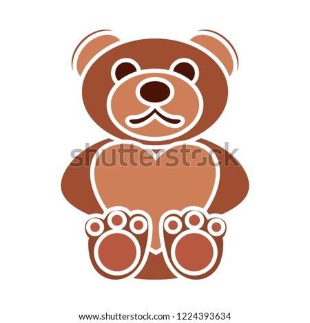 vector teddybear animal. Flat illustration of teddy bear. cute romantic toy love isolated on white background. valentine sign symbol. love icon