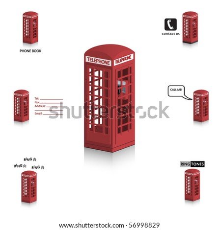 Vector Telephone booth - Vintage, British style