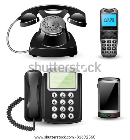 Vector telephone sets isolated on white background