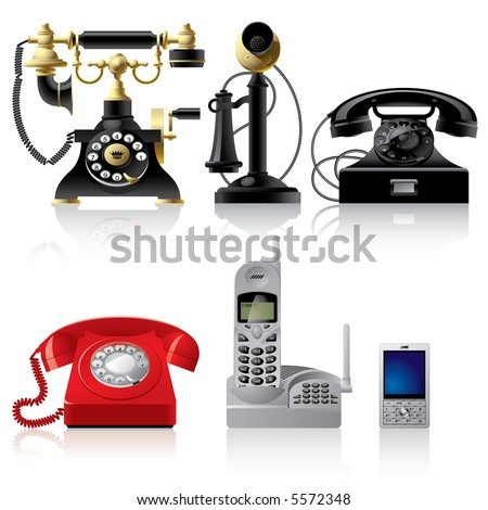 Vector telephone sets of different epoch - stock vector