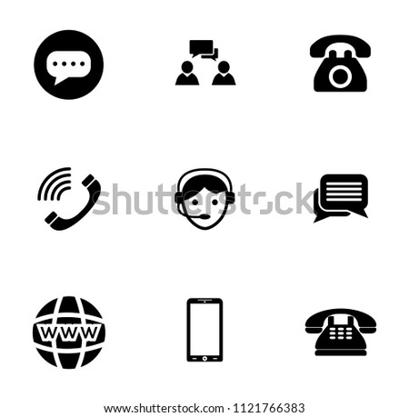 vector telephone, smart phone and mobile icons set. communication and computer technology sign symbols