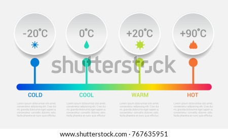 Vector temperature illustration round infographics four options. Colorful Template for brochure, business, web design. Light background.