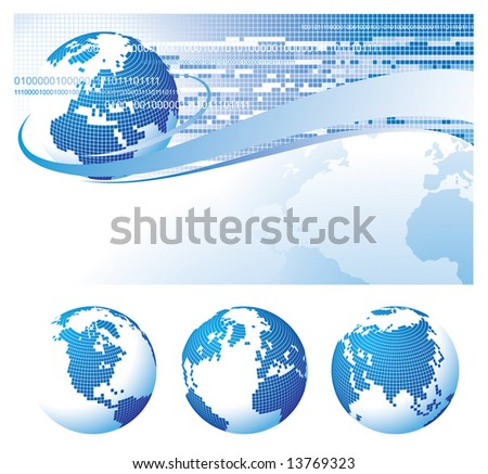 Vector template background with a globe