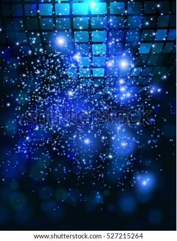 Vector template background with sparkles glitter and disco ball for parties.