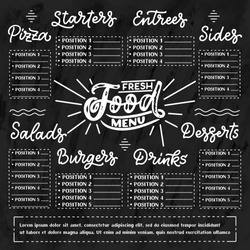 Vector template Chalkboard menu for restaurant and snack bars with grunge elements, names. Fresh food design