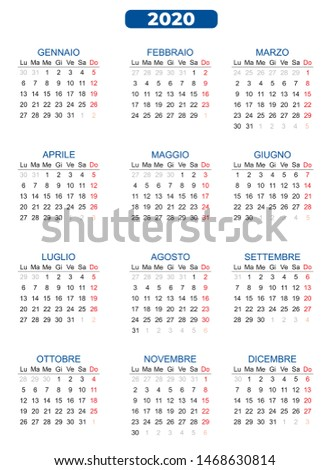 Vector template color 2020 italian version calendar with previous and subsequent days Eps