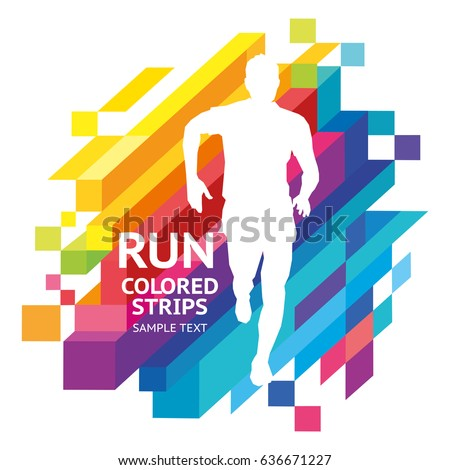 Vector template colored emotions strips running man design, banner, web