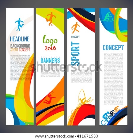 Vector template design Brochure,Flyer,Layout template,Web sites, page, leaflet with colored lines and waves.logo and text separately. Sport concept symbols.Sign Brazil 2016. info-graphics.Banners