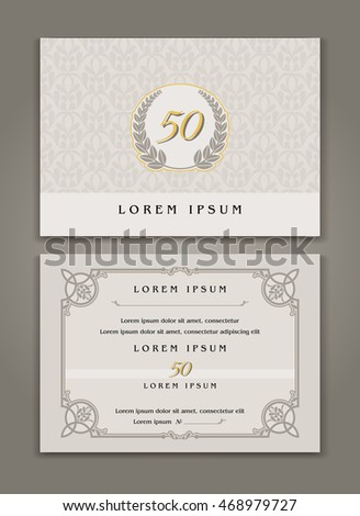 Vector Template Design of Happy Events Invitation and Greeting Card with ornamental, Floral frame
