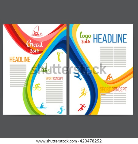 Vector template design strips of colored rings and waves.Concept sport brochure, Web sites,page,leaflet, logo Brazil 2016 and text separately. Sport banners with symbols of sports competitions. Rio.