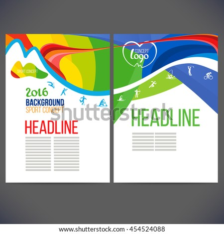 Vector template design strips of colored rings and waves.Concept sport brochure, Web sites,page,leaflet,logo concept 2016 and text separately. Banners with symbols of sports competitions