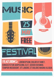 Vector template for a concert poster or a flyer featuring an acoustic guitar.