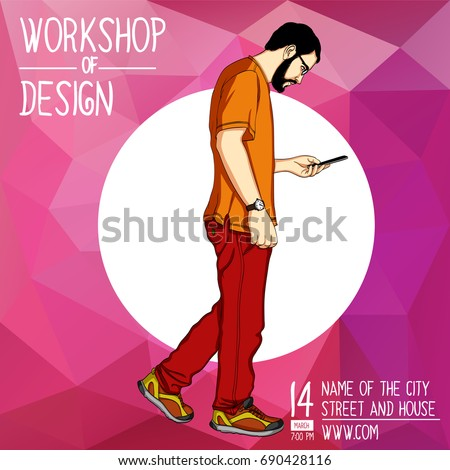 Vector template for a mobile app workshop, cover banner, presentation. Handsome young man steps and looks into app in smartphone. Vector cover banner for mobile app  hackathon