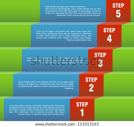 Vector template for a step by step presentation page.