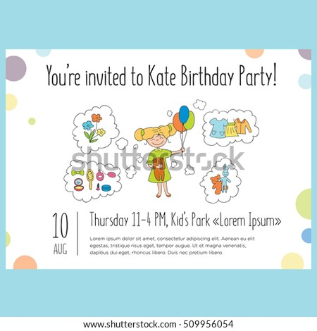Vector template for Birthday Party Invitation. Cartoon girl and objects. Colorful and fun. Horizontal banner.