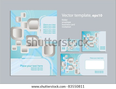 Vector template for business artworks: folder, business card and invitation card