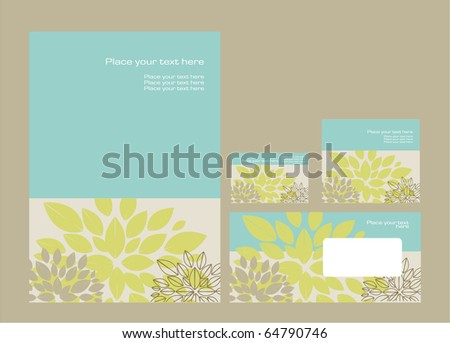 Vector template for business artworks: folder, business card and invitation on floral background, eps10