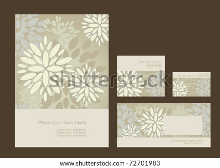 Vector template for business artworks: folder, business card and invitation on floral background, eps10 - stock vector