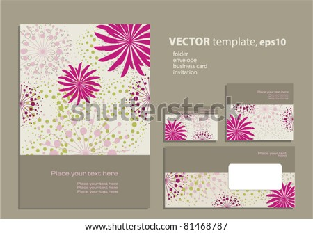 Floral invitation background download free vector art stock vector template for business artworks folder business card and invitation on floral background stopboris Image collections