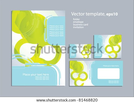 Vector template for business artworks: folder, business card and invitation on floral background