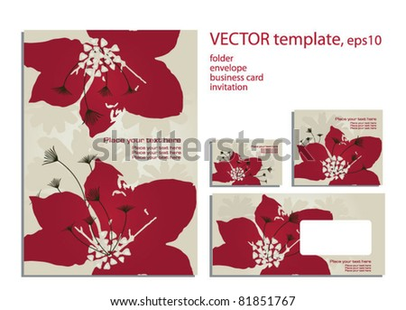 ... artworks: folder, business card and invitation on floral background