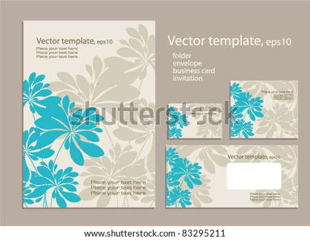 Vector template for business artworks: folder, business card and invitation on floral background .