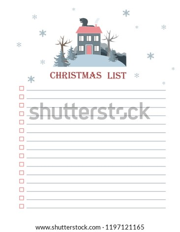 Vector template for Christmas to do list with flat winter landscape