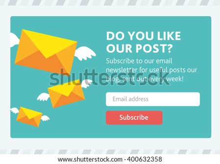 Vector template for email subscribe. With envelopes.