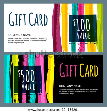 Vector template for gift card with abstract watercolor stripes background. Trendy colorful pattern. Concept for boutique, fashion shop, voucher, business template, beauty salon, flyer, banner design.